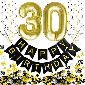 30. Geburtstag Deko Set - Folien Luftballons 30 Deckenhänger Girlande Konfetti