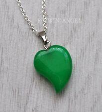 925 Silver Necklace & Jade Sweeping Heart Pendant Reiki Healing Ladies Gift Gem