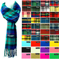 Womens Mens Winter 100% Cashmere Plaid check Scarves Wool Scarf Scotland Made