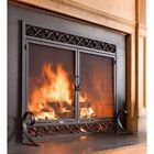 Large Cast Iron Fire Place Screen Scrollwork with Doors 44 W x 33 H Durable