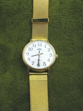 TIMEX INDIGLO LARGE FACE NEW MESH GOLD TONE BAND N RUNS BUT STICKS