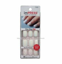 KISS imPRESS Press-On Manicure CLAIM TO FAME 30 Nail+ACCENTS White+IRIDESCENT