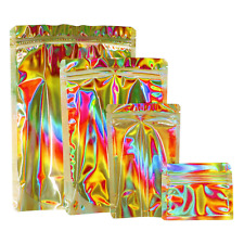 Golden Holographic Mylar Rainbow Laser Foil Resealable Heat Seal Food Pouch Bags