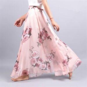 Summer Fashion Chiffon Maxi Skirt Floral Printed Women Long Beach Party Skirt
