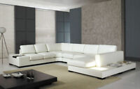 NEW Contemporary Living Room White Bonded Leather Large Sectional Sofa Set IRWA