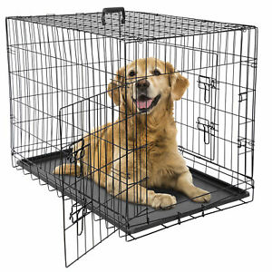 """36"""" Dog Crate Kennel Folding Metal Pet Cage 2 Door With Tray Pan Black"""