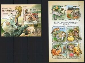 MOZAMBIQUE 2011 ROEDORES RODENTS SQUIRRELS PORCUPIN WILD ANIM FAUNA STAMPS MNH**
