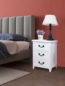 3 Drawer End Side Bedside Table Nightstand Organizer with Drawer Storage White