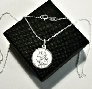 Stirling silver *St Christopher* Pendant Necklace  *in a gift box*