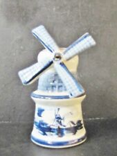 "Vintage Delft Porcelain Miniature 4"" Windmill Signed"