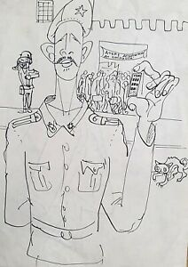 Vintage abstract portrait figures caricature ink painting