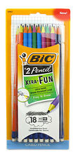BIC XTRA FUN #2 HB  PENCILS BLACK LEAD COLORFULL BARRELS PACK OF 18 PENCILS