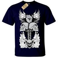 Lucky 666 Skull cross wings angel gothic T-Shirt Unisex Mens