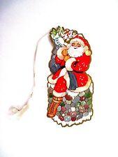 Vintage Santa Christmas Bridge Tally w/ Santa Carrying A Bag of Toys *