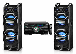 """(2) Technical Pro Dual 10"""" 3000w Speakers w/LED Lights + DVD Receiver Amplifier"""