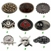 Skeleton Belt Buckle Skulls Crossbones Vintage Silver Metal Mens Womens Gothic