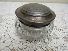 Large Antique Glass Powder Jar w/ Silverplate Ornate Lid Vanity Trinket Box