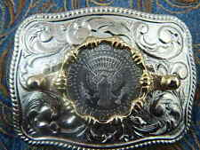 NEW HANDCRAFTED SILVER METAL BELT BUCKLE USA  HALF DOLLAR  COIN WESTERN  COWBOY