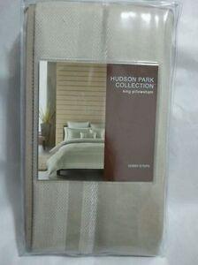 Hudson Park DOBBY STRIPE King PILLOWSHAM sham Taupe tan $115 New