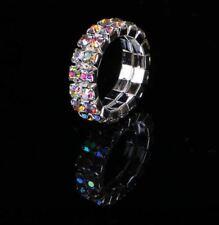 Crystal Aurora Borealis Rhinestone AB Elastic 2 Row Double Stretch Ring Silver