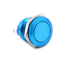 1PC 19mm waterproof blue momentary metal push button switch flat top gh