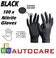 100 x MEDIUM Tough BLACK Nitrile STRONG Tattoo Mechanic Disposable Gloves M