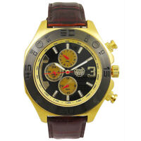 Mens Watch Brown Leather Gold Tone Large Black Dial Day Date Reloj de Hombres