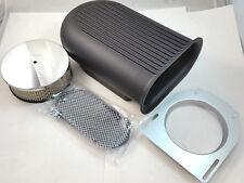 Black Aluminum Hilborn Style Full Finned Hood Air Scoop Kit Single 4 BBLCarb V8
