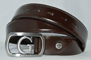 Brand new GUESS men's LOGO Leather Adjustable Belt (size L) Dark Brown
