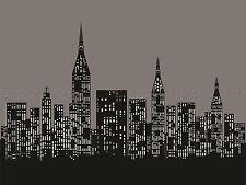 PITTURA Cityscape SKYLINE LUCI NERO BIANCO vettore poster stampa bmp10413