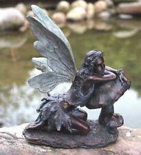 "17"" Bronze Flower Fairy on Mushroom Home Garden Patio Koi Pond Statue Lady"