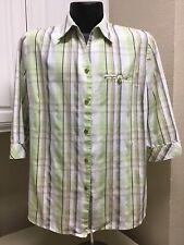 Allison Daley Green Tan Black Plaid 3/4 Sleeve Button Down Blouse Shirt Size 16