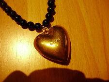 Pilgrim Kette lang Perlen + Leder schwarz+ großes goldenes Herz