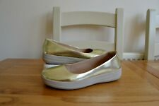 """FITFLOP """"F-SPORTY"""" GOLD LEATHER BALLET PUMP SHOES UK 6 EU39 RRP £85.00"""