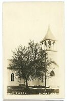 RPPC Methodist Church CLARKS NE Vintage Nebraska Real Photo Postcard