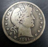 1894 O Barber Half Dollar Very Fine VF Partial Liberty Original Problem Free