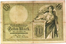 1904 German Empire  Kaiser 10 Mark Banknote