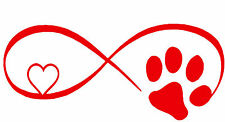 Dog,Cat,Paw,Infinity Symbol W/Heart,Pets, Vinyl Decal,Car Window,Laptop, Ipad