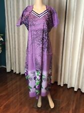 "46"" XL Cotton Nightie Indian Housecoat Ladies Summer Night Dress Purple B18"