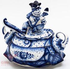 Gzhel porcelain Sugar Bowl Harlequin Buffoons handmade 600ml