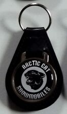 Reproduction Vintage Arctic Cat Black Head Medallion Style Leather Keychain