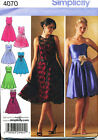 SIMPLICITY SEWING PATTERN 4070 MISSES SZ 6-14 FORMAL, EVENING, PARTY DRESSES