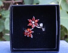 Red Crystal Sterling Silver Ring Size 7