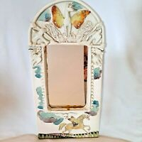 Vintage Wall Mirror Unicorn Elizabeth Allen Hand Made Ceramic Angels Doves 3D