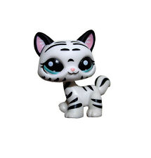 Littlest Pet Shop Animal Black Striped White Cat Loose Figure Child Girl Toy
