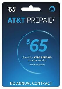 $65 AT&T Prepaid refill reup gift card top-up att recharge PIN fast delivery