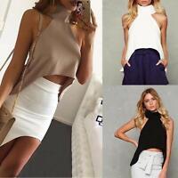 Womens Summer Sleeveless Shirt Sexy Vest Tops Off Shoulder Loose Tank Crop Tops
