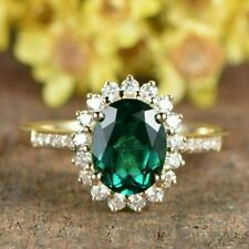 2.50 Ct Oval Cut Emerald Diamond Halo Engagement Ring In 14k Yellow Gold Finish