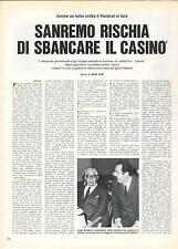SANREMO RISCHIA DI SBANCARE IL CASINO' - CLIPPING