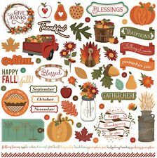 (1) 12x12 Sheet of Photo Play Paper AUTUMN ORCHARD Fall Theme Element Stickers